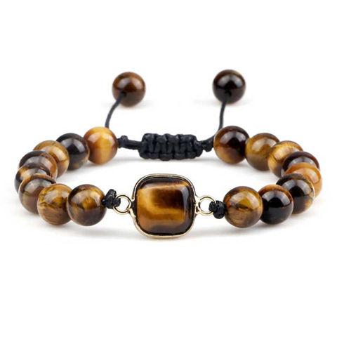 Picture of Vintage Men Tiger Eye Stone Adjustable Braided Bracelets