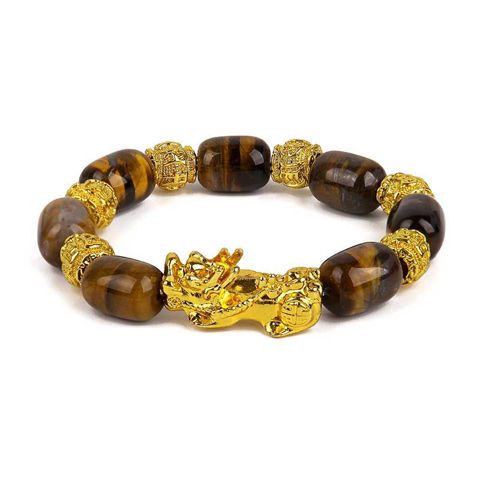 Picture of Tiger Eyes Stone Beads  Gold Yellow Pixiu Wealth Bracelet