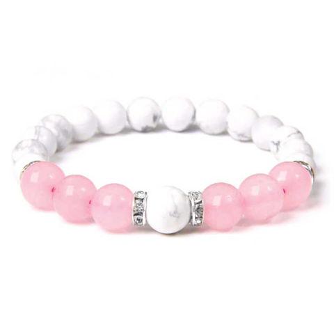 Pink Quartz Natural Pink Stone Green or Aventurine Beads Bracelet