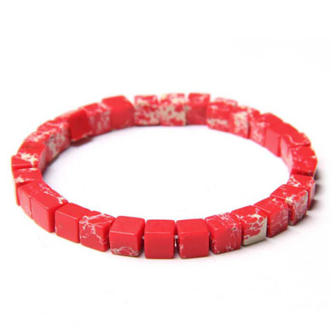 Red Natural Stone Emperor Jaspers Cube Bracelet