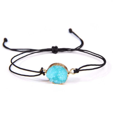 Picture of Natural Shiny Druzy Charm With Adjustable Braided Bracelet