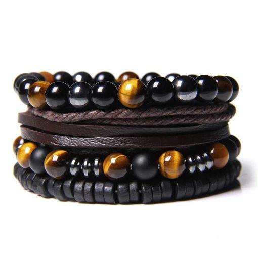 Picture of Set Polished Black Onyx Beads Bracelet Men Leather Bracelet