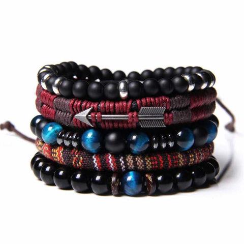 Picture of Set Men Black Onyx and Blue Tiger's Stone Bracelet