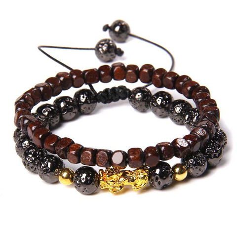 Picture of Fengshui Double Layers Handmade Lava Stone Pixiu Bracelet