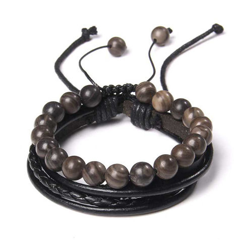 Picture of Handmade Weave Black Leather 8 mm Black Malachite Bracelet