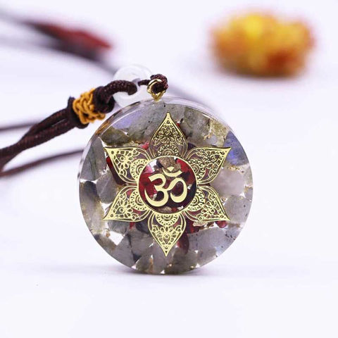 Picture of Mulany MN202 Orgone Pendant Labradorite Om Yoga Necklace