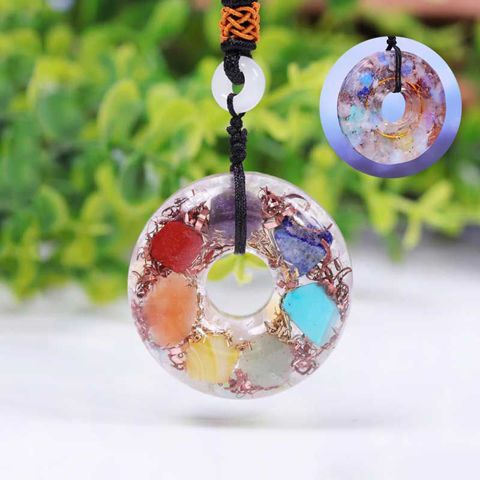 Picture of Mulany MN208 Orgone Pendant 7 Chakra Crystal Stone For Meditation Necklace