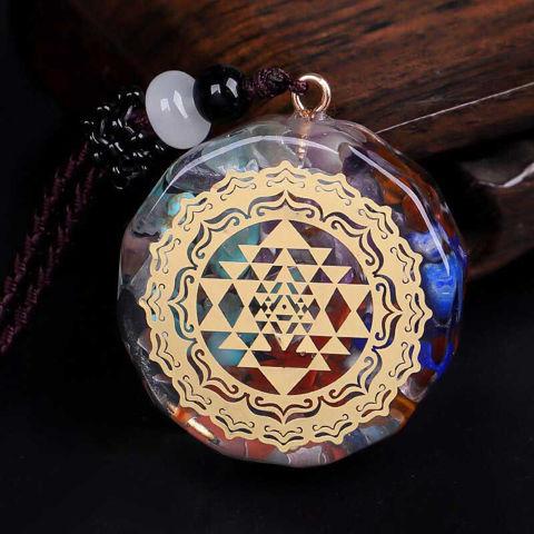Picture of Mulany MN103 Natural Stone Chakra Sri Yantra Orgonite Necklace