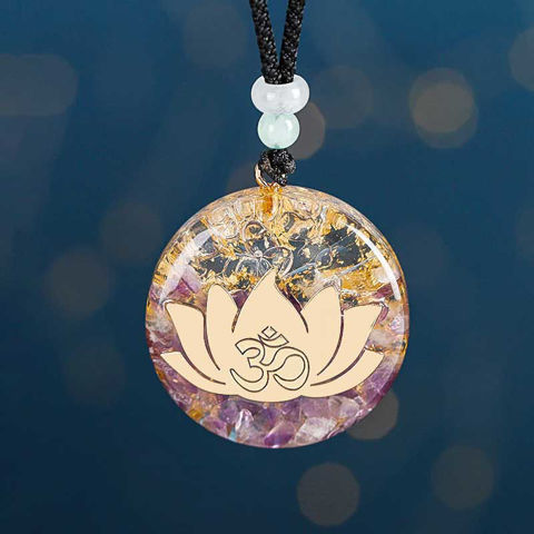 Picture of Mulany MN104 Natural Stone Amethystine Lotus Orgonite Necklace