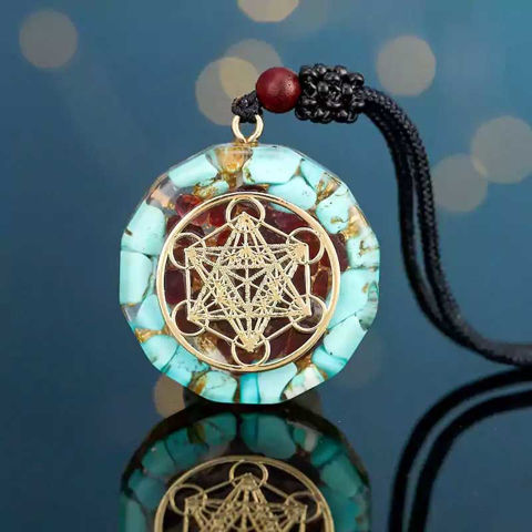 Picture of Mulany MN106 Turquoise Reiki Om Yoga Orgonite Necklace