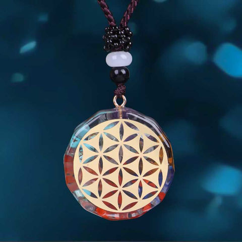 Picture of Mulany MN108 7 Chakra Flower of Life Orgonite Necklace