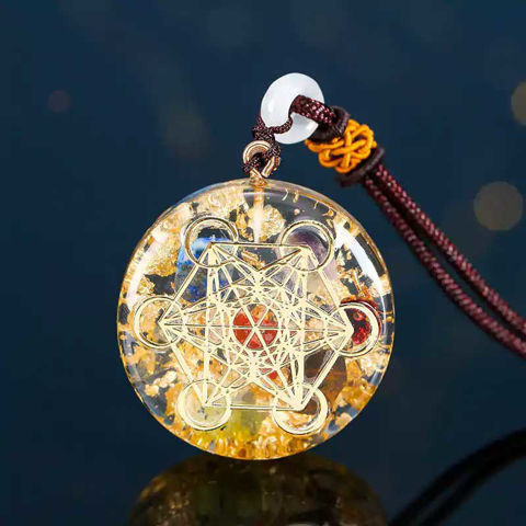 Picture of Mulany MN110 Sacred Geometry Garnet Orgonite Necklace