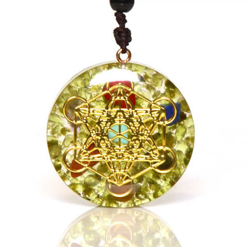 Picture of Mulany MN112 Chakra Flower of Life Orgonite Necklace