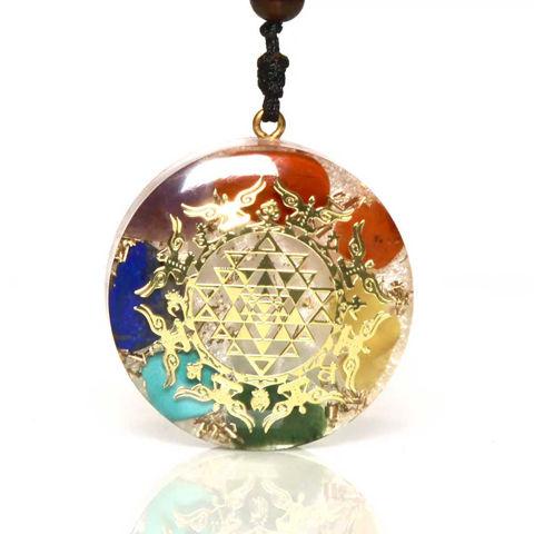 Picture of Mulany MN204 Orgone Pendant Luminous 7 Chakra Meditation Yoga Necklace