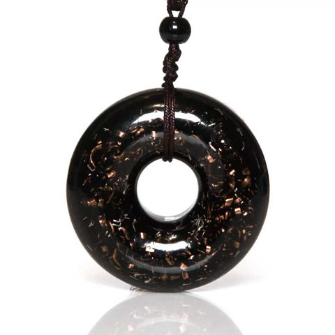 Picture of Mulany MN207 Orgone Pendant Obsidian EMF Protection Necklace