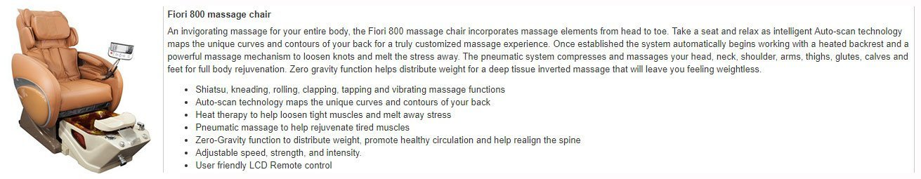 Fiori 8000 Spa Chair Review