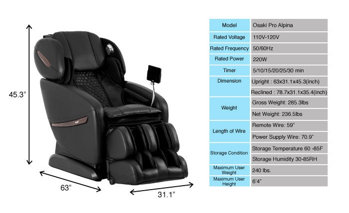 dimension of Osaki Alpina massage chair