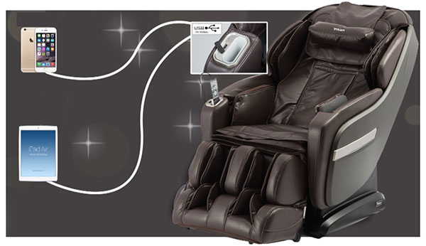 Titan Pro Summit massage chair USB charge port