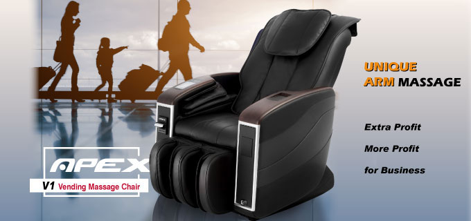 Apex Vending massage chair promotional banner